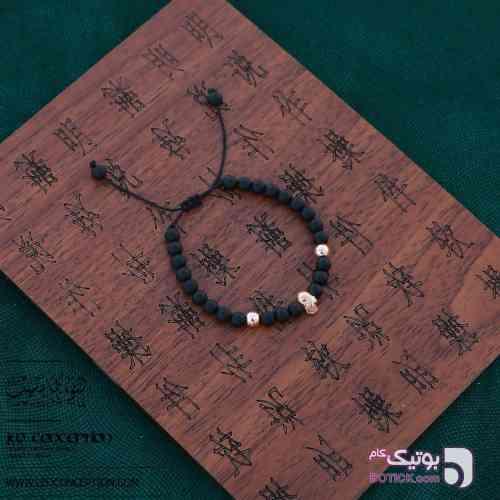دستبند اسکلت نقره / سنگ اونیکس مات (MS۲۰) مشکی دستبند و پابند