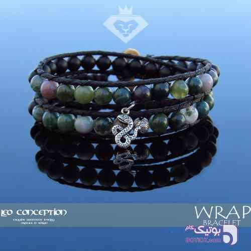 دستبند WRAP / سنگ عقیق خزه ای و اونیکس مات (WB04) سفید دستبند و پابند