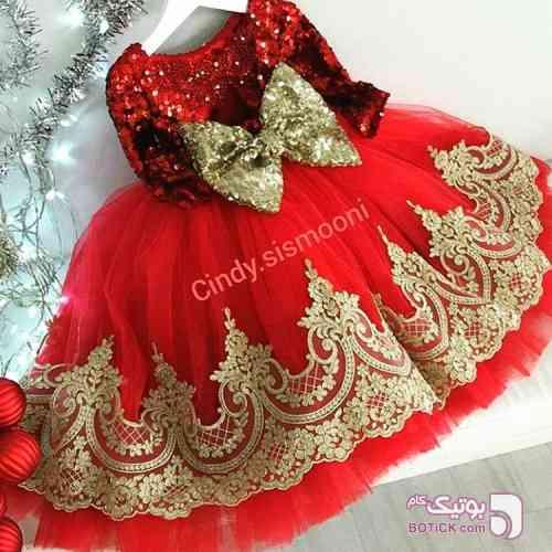 پیراهن مجلسی دخترانه قرمز لباس کودک دخترانه