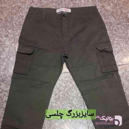 شلوار کتان ۶ جیب  سبز سایز بزرگ مردانه