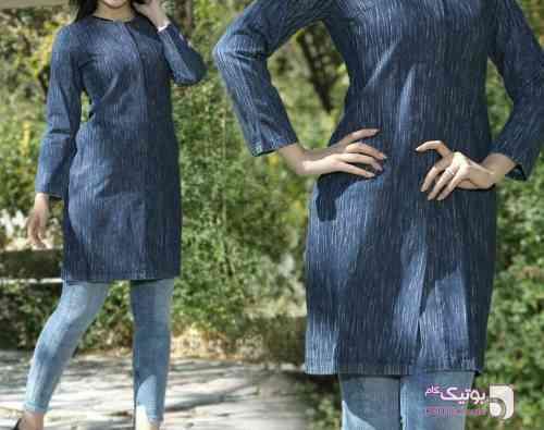 مانتو جین طرحدار سورمه ای لباس  مجلسی