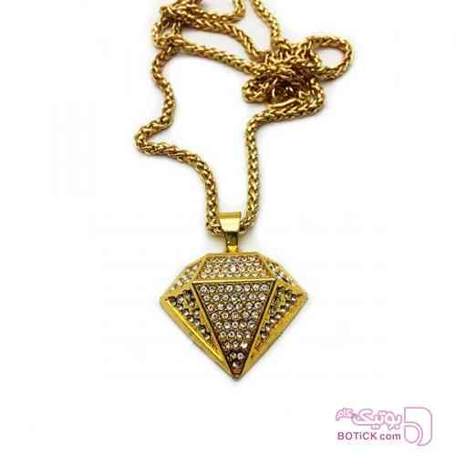آویز مردانه استیل طرح الماس GEM نگین دار طلایی گردنبند