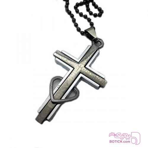 آویز مردانه استیل صلیب نقره ای گردنبند