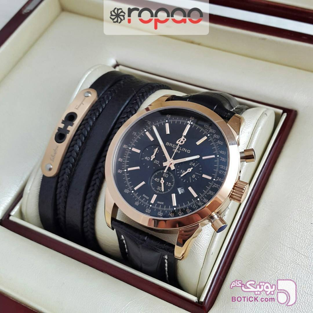 37052ae81 ست ساعت برایتلینگ و دستبند مشکی از فروشگاه گالری روپائو | بوتیک