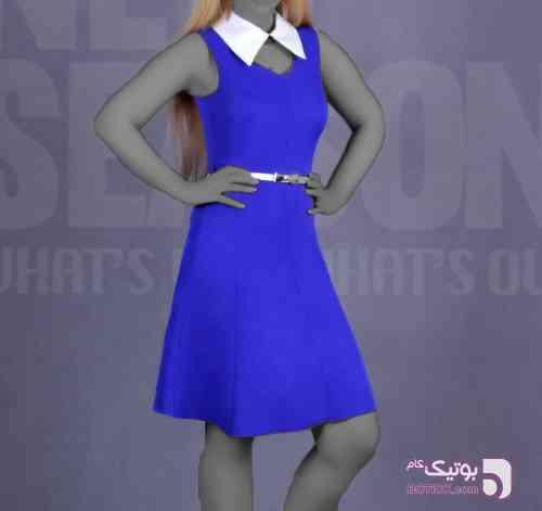 پیراهن عروسکی یقه دار آبی لباس  مجلسی
