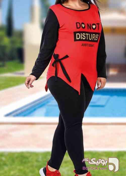 ست بلوز آستین بلند و شلوار تکنور ترکیه زرشکی لباس راحتی زنانه