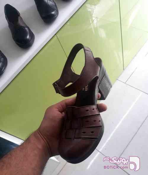 کفش چرم طبیعی قهوه ای كفش زنانه