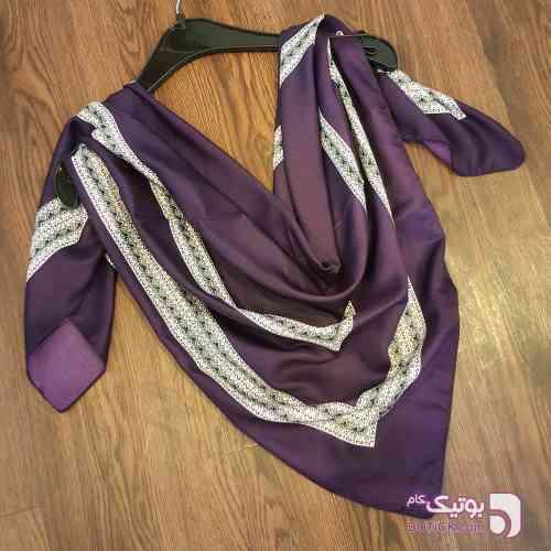 روسری ساتن نخ بنفش شال و روسری