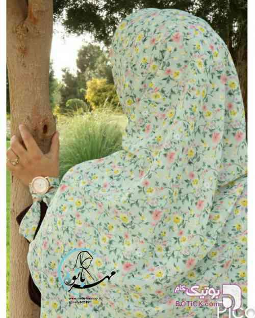 روسری گلدار آبی شال و روسری