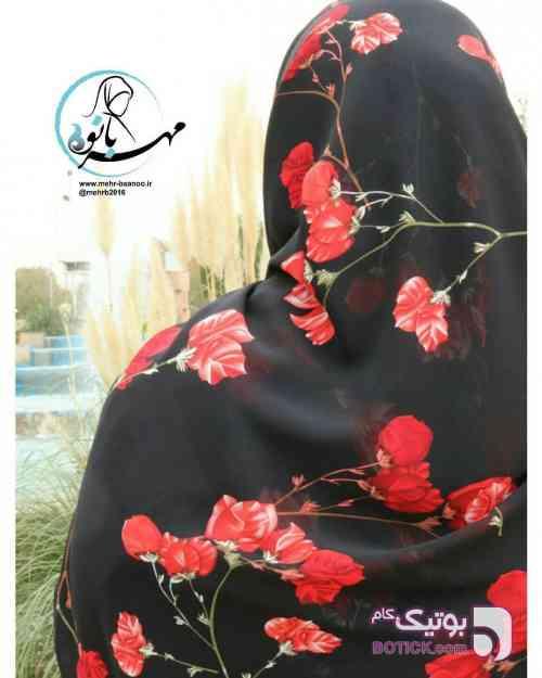 روسری گلدار مشکی شال و روسری