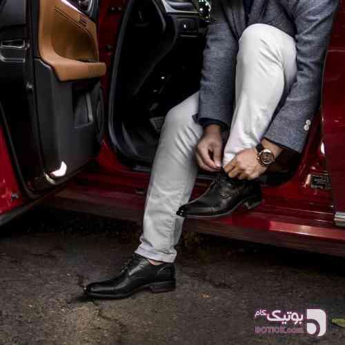 کفش برت تمام چرم مشکی كفش مردانه