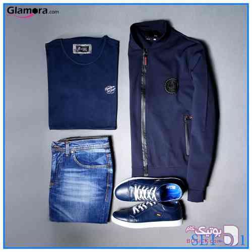 ست سوئیشرت و تیشرت و شلوار و کفش آبی سوئیشرت مردانه