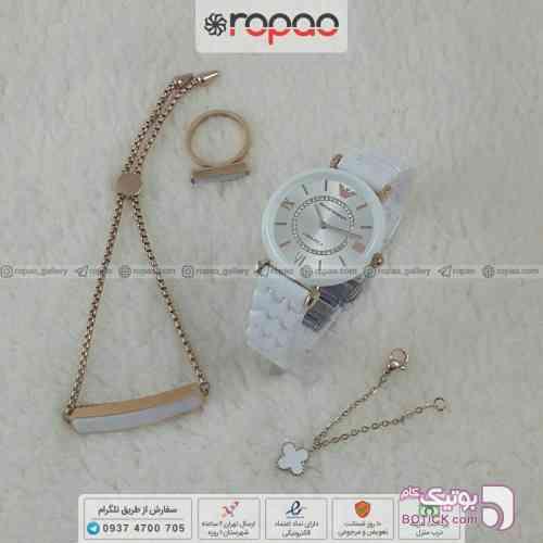 ست جدید امپریو آرمانی زنانه سفید ساعت
