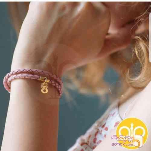 دستبند چرم و طلا صورتی دستبند و پابند