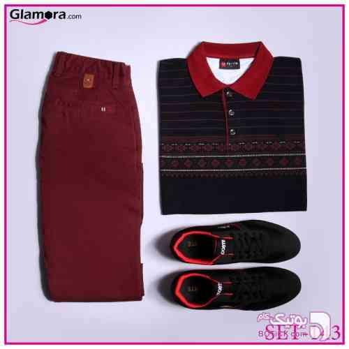ست تیشرت و شلوار و کفش مشکی تی شرت مردانه