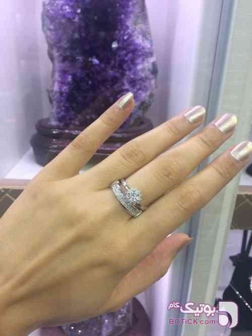 حلقه و پشت حلقه نقره ترک سفید انگشتر