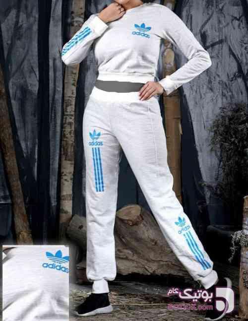 ست دو تیکه  سفید ست ورزشی زنانه