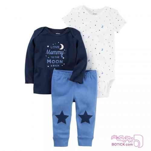 ست سه تکه طرح ستاره carter's مشکی لباس کودک پسرانه
