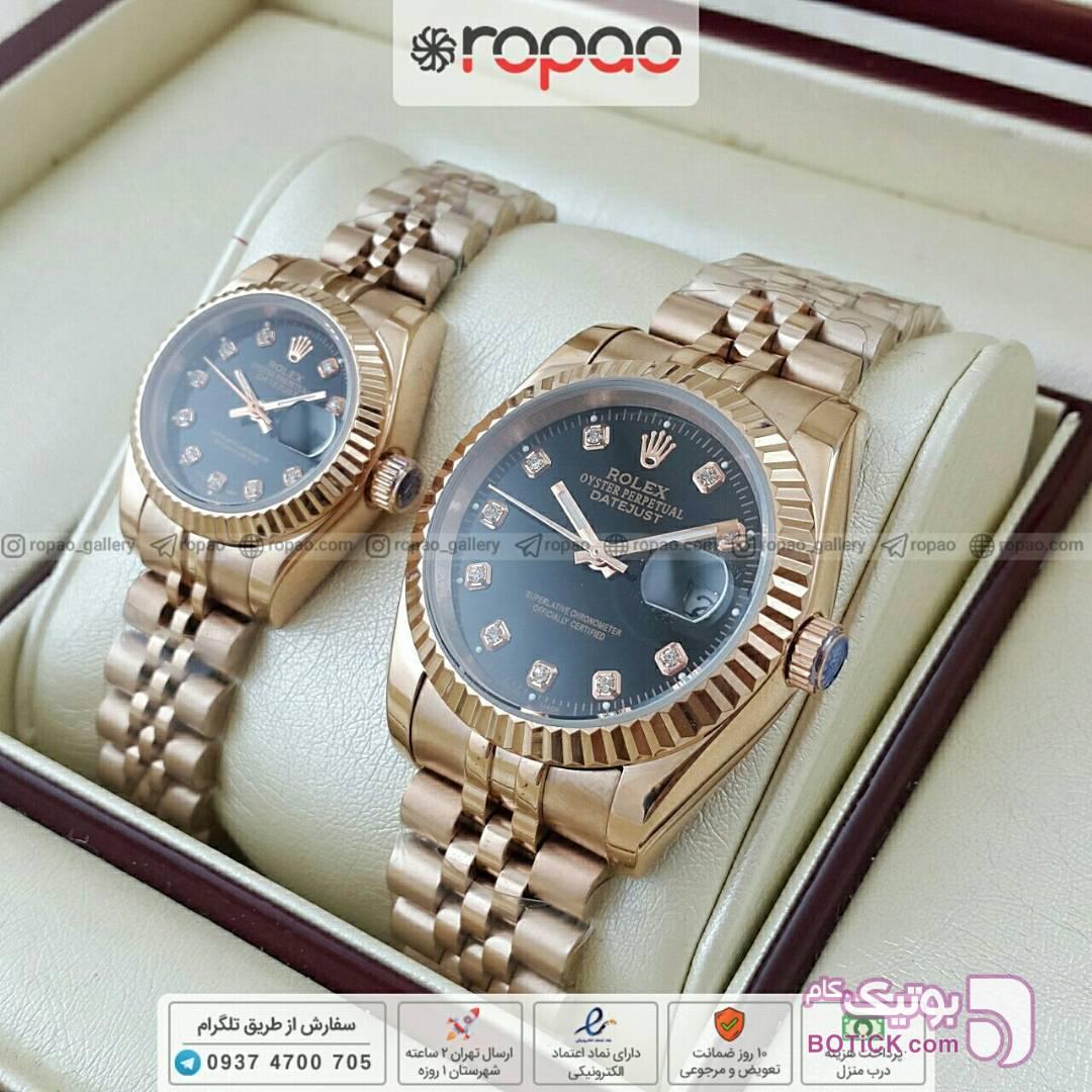 356752838 ست ساعت مردانه و زنانه رولکس درجه یک طلایی از فروشگاه گالری روپائو ...