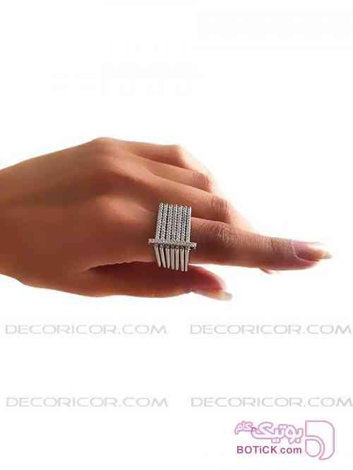 انگشتر نقره مربعی پنج حلقه decoricor نقره ای انگشتر