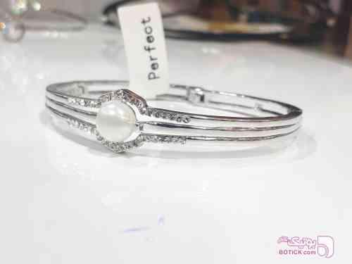 دستبند النگویی مرواریدی سفید نقره ای دستبند و پابند