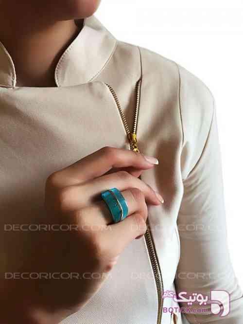 انگشتر نقره سنگ آکوامارین decoricor فیروزه ای انگشتر