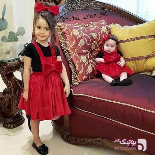 سارافون آبی لباس کودک دخترانه