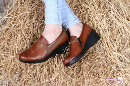 کفش زنانه،چرم اصل قهوه ای كفش زنانه