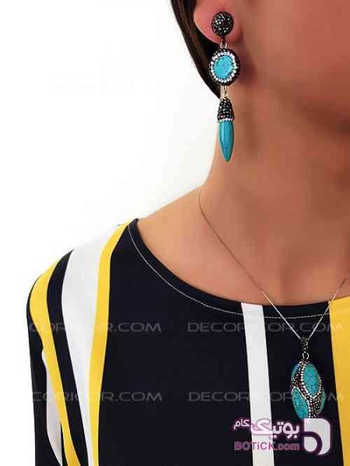 گوشواره آویز سنگ باهاماس decoricor فیروزه ای گوشواره