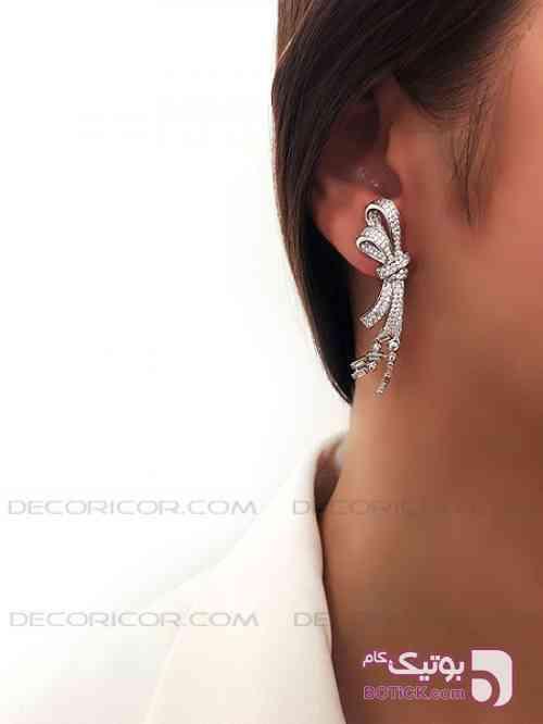 گوشواره نقره پاپیون decoricor نقره ای گوشواره