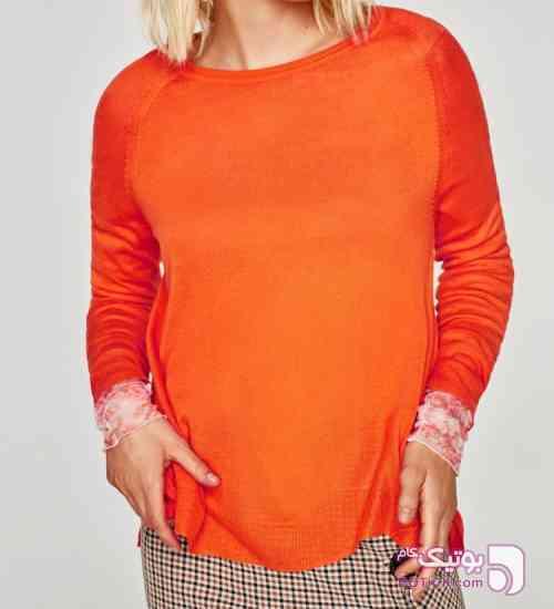 پليور زنانه زارا نارنجی پليور زنانه
