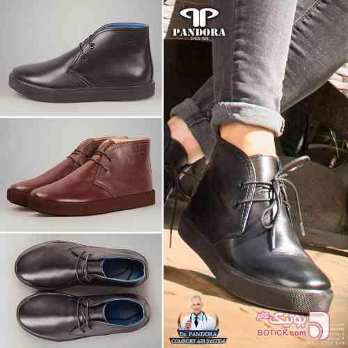 کفش چرم مشکی بوت مردانه