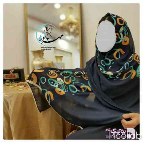 شال  کرپ حریر  سورمه ای شال و روسری