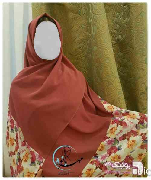 شال  کرپ حریر  قرمز شال و روسری