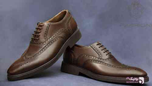 کفش چرم فابریونی قهوه ای كفش مردانه