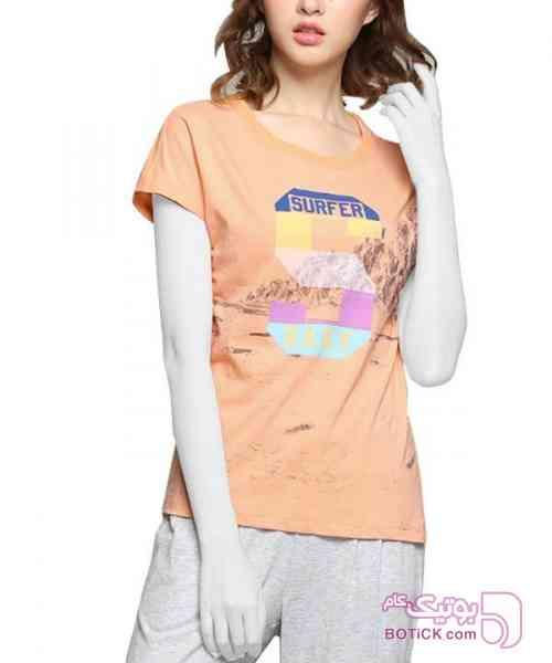تی شرت طرح دار زنانه جین وست نارنجی تی شرت زنانه