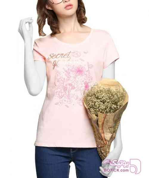 تی شرت طرح دار زنانه جین وست صورتی تی شرت زنانه