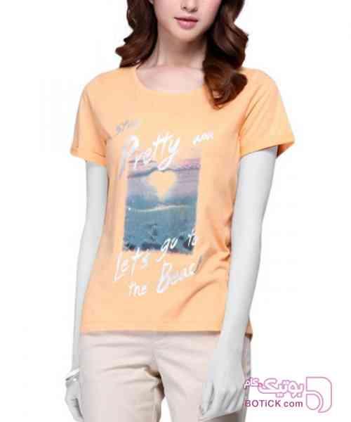تی شرت پولک دوزی زنانه جین وست نارنجی تی شرت زنانه