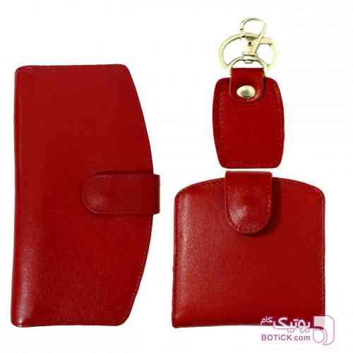 ست هدیه  زنانه چرم طبیعی قرمز كيف زنانه