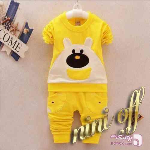 بلوز شلوار خرسی زرد لباس کودک پسرانه