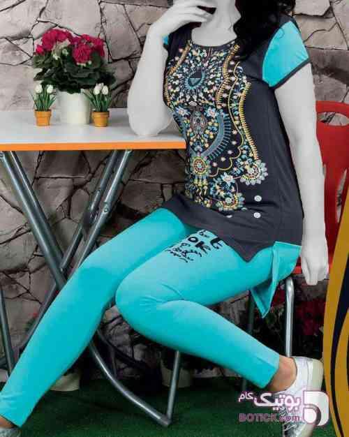 تیشرت شلوار تکنور آبی لباس راحتی زنانه