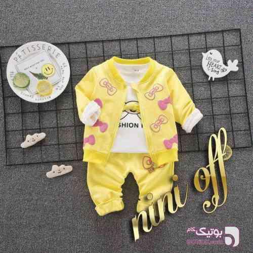 سه تکه زرد لباس کودک دخترانه