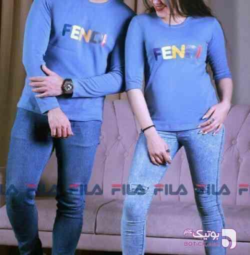 ست زن و مرد  آبی تی شرت زنانه