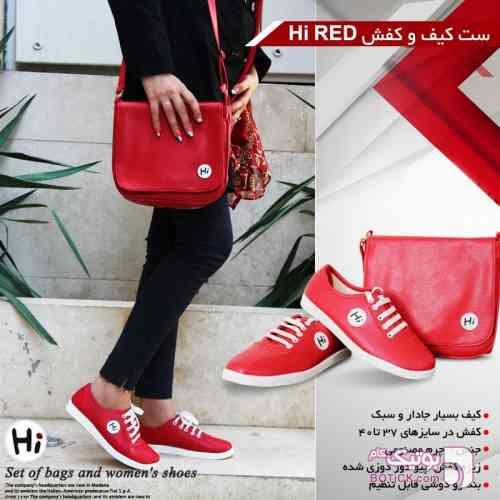 ست کیف وکفش دخترانه قرمز كفش زنانه