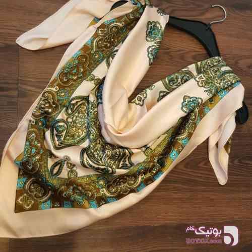 روسری ساتن نخ  آبی شال و روسری