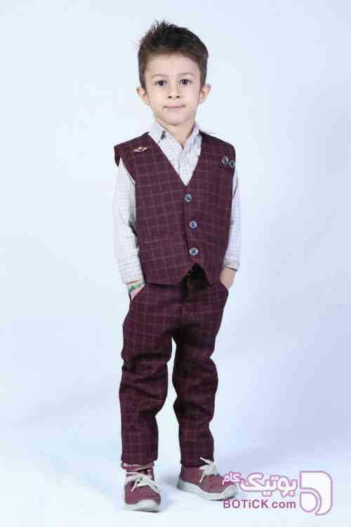 جلیقه شلوار پسرانه زرشکی لباس کودک پسرانه