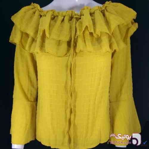 بلوز آستین کلوش زرد بلوز زنانه