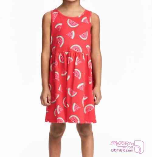 پيراهن هندوانه قرمز لباس کودک دخترانه
