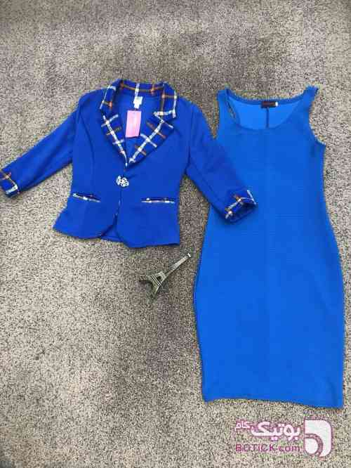 کت و سارافون استرج آبی لباس  مجلسی