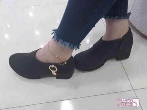 کفش پاشنه دار ساتن ستاره مشکی كفش زنانه